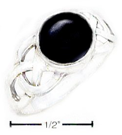 WOMEN'S Size-5 0.925 STERLING SILVER ROUND ONYX CABOCHON RING WITH WEAVE SHANK