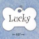 "0.925 STERLING SILVER ENAMELED ""LUCKY"" DOGBONE CHARM FOR YOU OR YOUR PET"