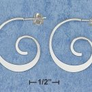 NEW-CLASSIC DESIGNER'S PATTERN 0.925 STERLING SILVER SWIRL HOOP POST EARRINGS