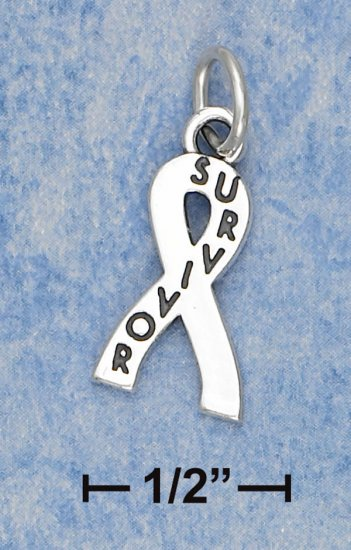 "0.925 STERLING SILVER ""LARGE 3/4"" SURVIVOR RIBBON"" CHARM"