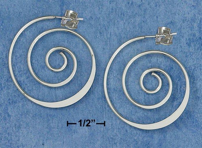 NEW-CLASSIC DESIGNER'S PATTERN 0.925 STERLING SILVER SPIRAL HOOP POST EARRINGS