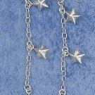 "0.925 STERLING SILVER 2"" 6MM PUFFED STAR FRENCH WIRE DANGLE EARRINGS"