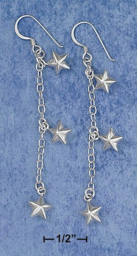 """0.925 STERLING SILVER 2"""" 6MM PUFFED STAR FRENCH WIRE DANGLE EARRINGS"""