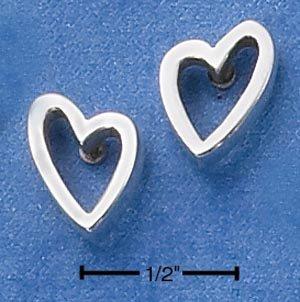 """0.925 STERLING SILVER """"OPEN-HEART"""" POST EARRINGS"""