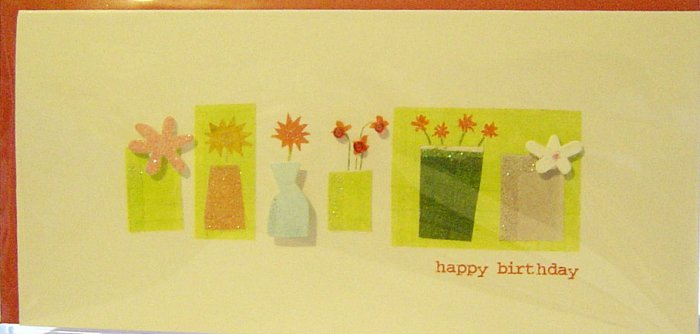 """Handcrafted """"Vases & Flowers"""" Design-Patterns """"HAPPY BIRTHDAY"""" Greeting Card"""