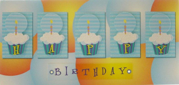 """Handcrafted """"HAPPY BIRTHDAY"""" Greeting Card: """"Congratulations and best wishes!"""""""