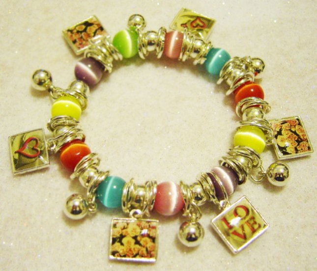 NEW! LOVE CHARM Bracelet Multi Colorful-Beads & Charms