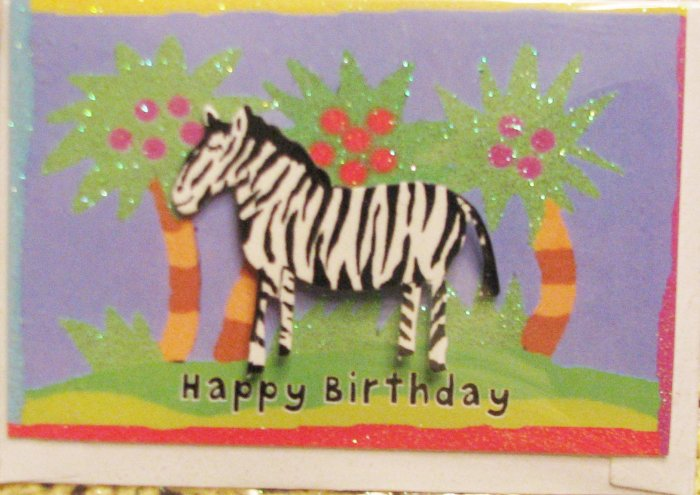 """Mini"" ""HAPPY BIRTHDAY"" Handcrafted ""TROPICAL ZEBRA"" Note Card"