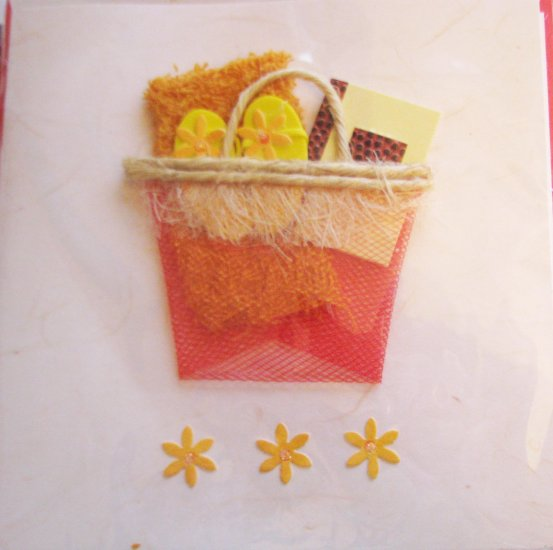 """*FREE SHIPPING to US & CANADA* Handcrafted """"VACATION-RELAXATION"""" Greeting Card: BLANK INSIDE"""