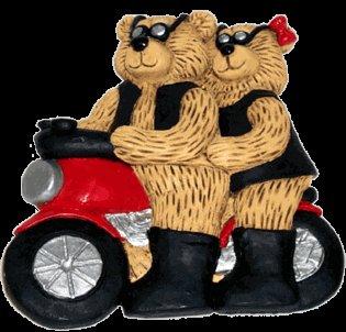 Collectible Motorcycle Couple Teddy Bears - Figurine