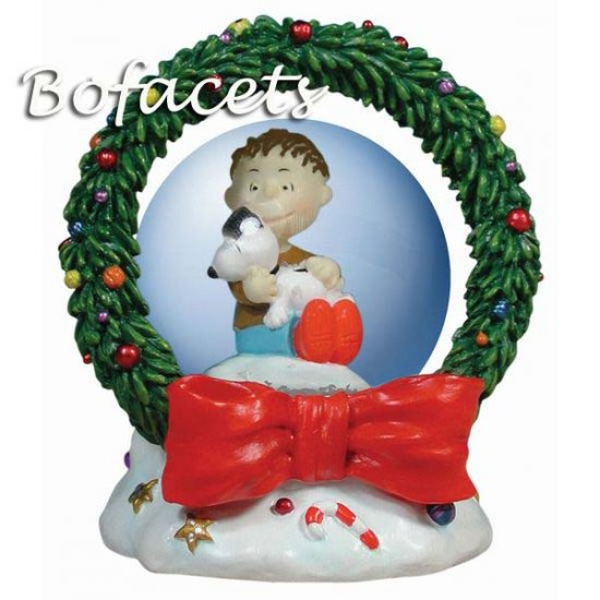 Collectible Peanuts Snoopy & Rerun Christmas 45MM Waterglobe
