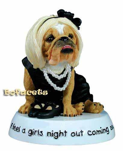 "Collectible Zelda Wisdom BULLDOG Figurine - ""Girls Night Out"""