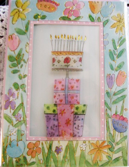 """""""May your special day be filled with many happy surprises!"""" Handcrafted Greeting Card"""