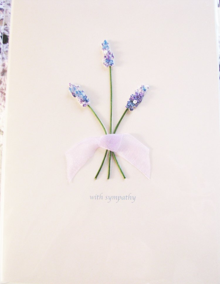 """Thinking of you at this time of sorrow"" Handcrafted ""Sympathy"" Message Card"