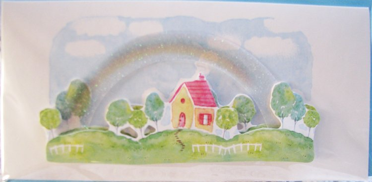 """Wishing you sunshine and rainbows!"" Handcrafted ""GET WELL"" Message Card"