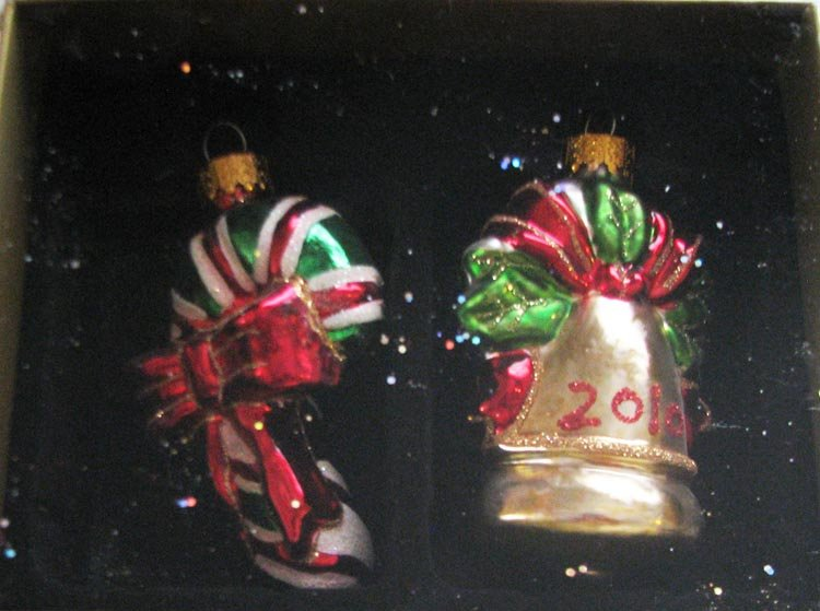 """Year 2010 """"Treasured Glass Ornaments"""" 2-Piece Celebrate It Christmas Decorations"""