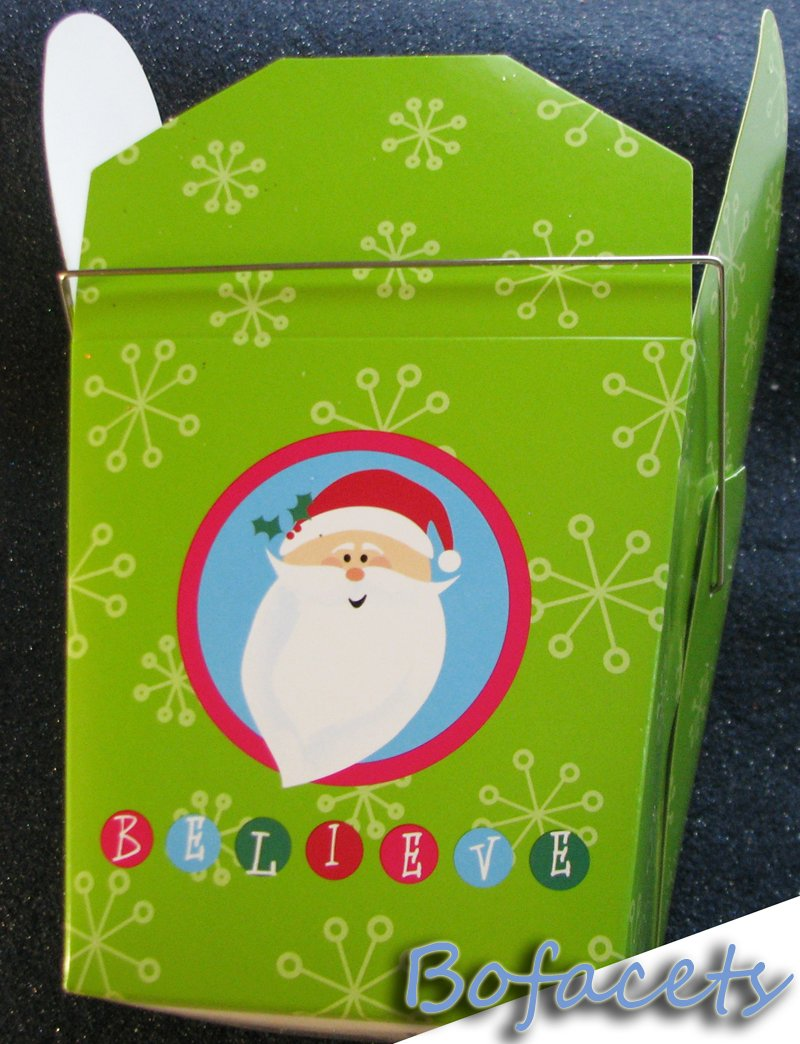 ONE Piece of  GIFT GIVING Santa Take-Out Paper Box