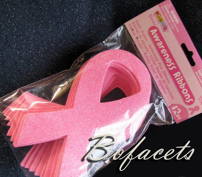 12 Pieces Foam Shapes - Awareness Pink Ribbons