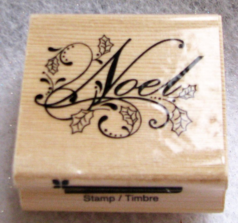 """Clearance New Wood Mounted """"Noel with patterns"""" Rubber Stamp"""
