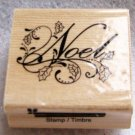 "Clearance New Wood Mounted ""Noel with patterns"" Rubber Stamp"