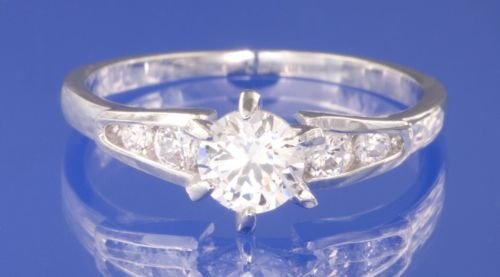 0.76ctw RUSSIAN DIAMOND ENGAGEMENT RING size O or P