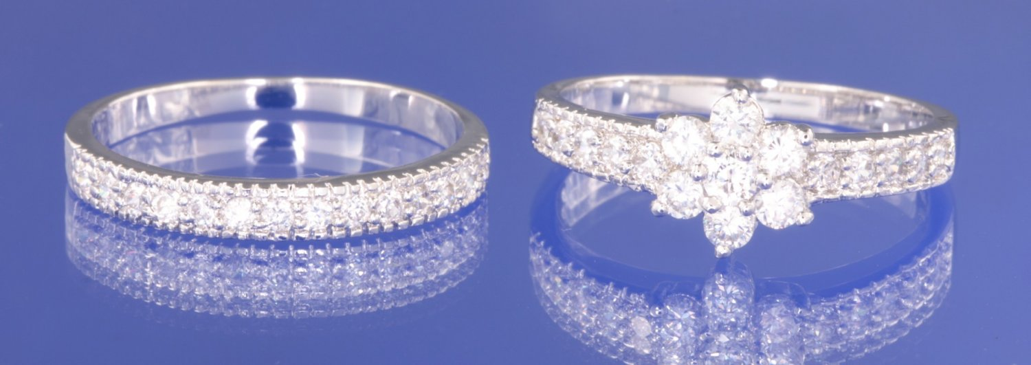0.90ctw  Russian Diamond Engagement Twin Ring Set Size M, O or R1/2