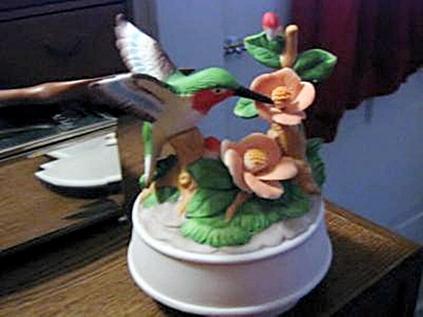 Ceramic Hummingbird and Flowers Music Box Plays Edelweiss #400096