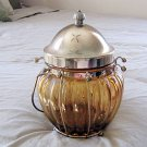 Unique Amber Glass and Brass Jar Ruege Music Box Lid Plays Come All Ye Faithful #400126