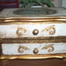 Vintage Gold Wooden Musical Jewelry Box Plays Yesterday #400055