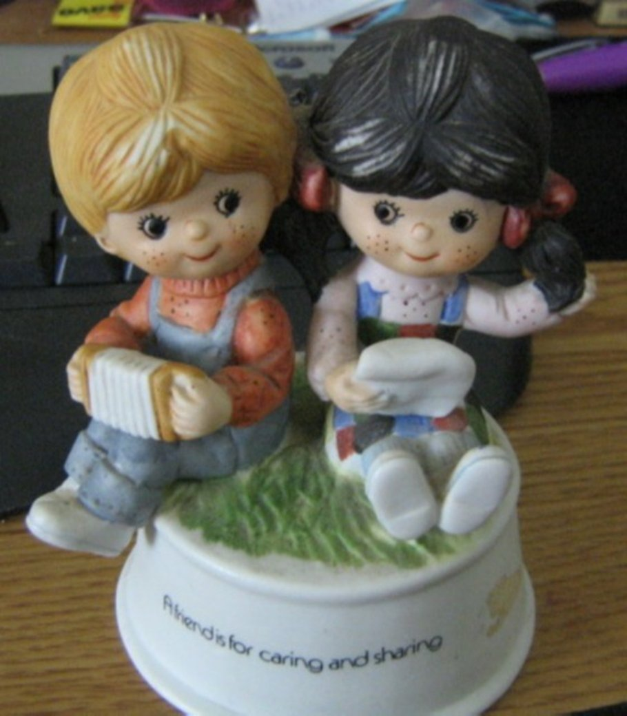Vintage Flambro Friends are for Caring and Sharing Boy and Girl Music #400117