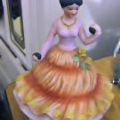 Beautiful Spanish Woman Holding Fruit Figurine Music Box Plays Memories  #400105