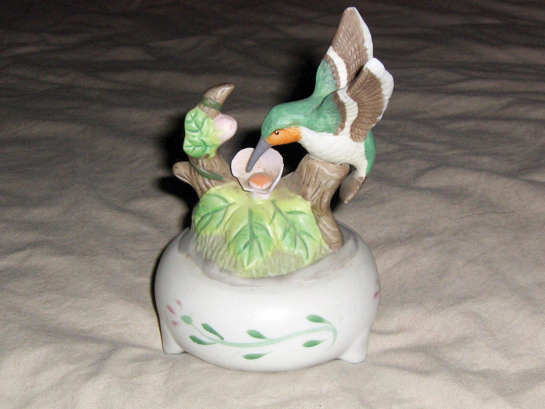 Ceramic Small Hummingbird and Flowers Music Box  #400140