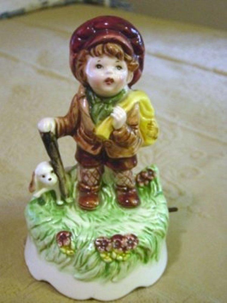 Little Runaway Boy Porcelain Musical Music Box #400049