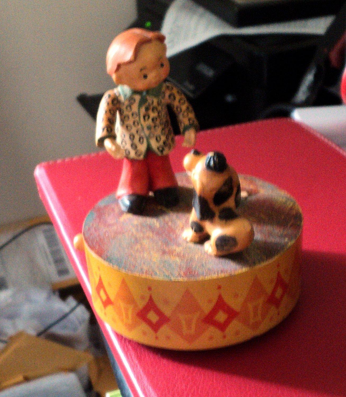 Old Swiss Reuge ANRI Wooden Boy & Dog Carousel Music Box Germany #400151