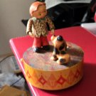 Old Swiss Reuge ANRI Wooden Boy & Dog Carousel Music Box Germany #400151