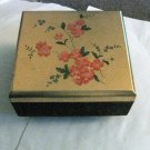 Vintage Black Music Jewelry Box  Gold Embossed Lid with Raised Flowers  #400152