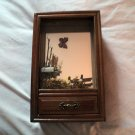 Vintage Wooden Shadow Box & Music Box Singing Bird in Mailbox Plays Tie a Yellow Ribbon #400163