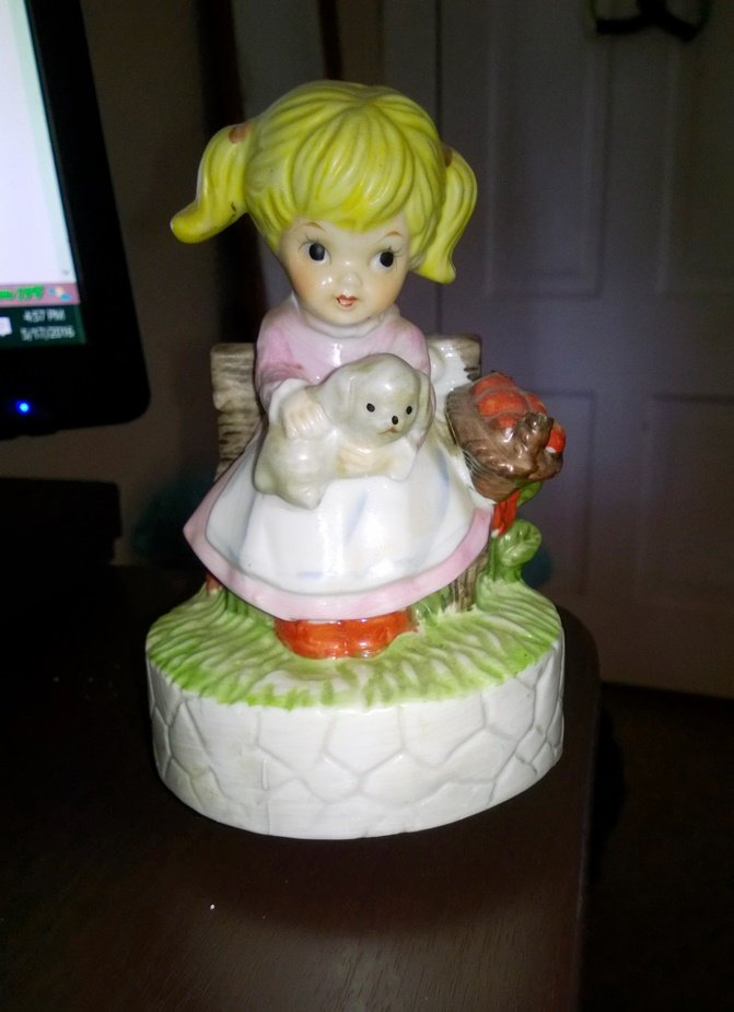 Vintage Little Girl Holding Puppy Music Box Plays Some Day My Prince Will Come #400175