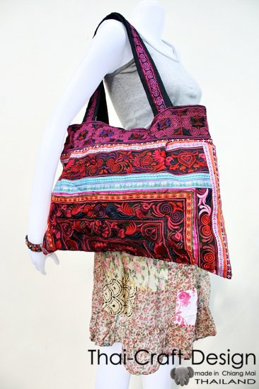 Hmong Old Vintage Style Thai handmade Patch work Sling Cotton Shoulder Bag Handbag