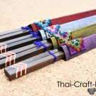 Wood Thai Chopsticks 4 Sets in Thai Silk Gift