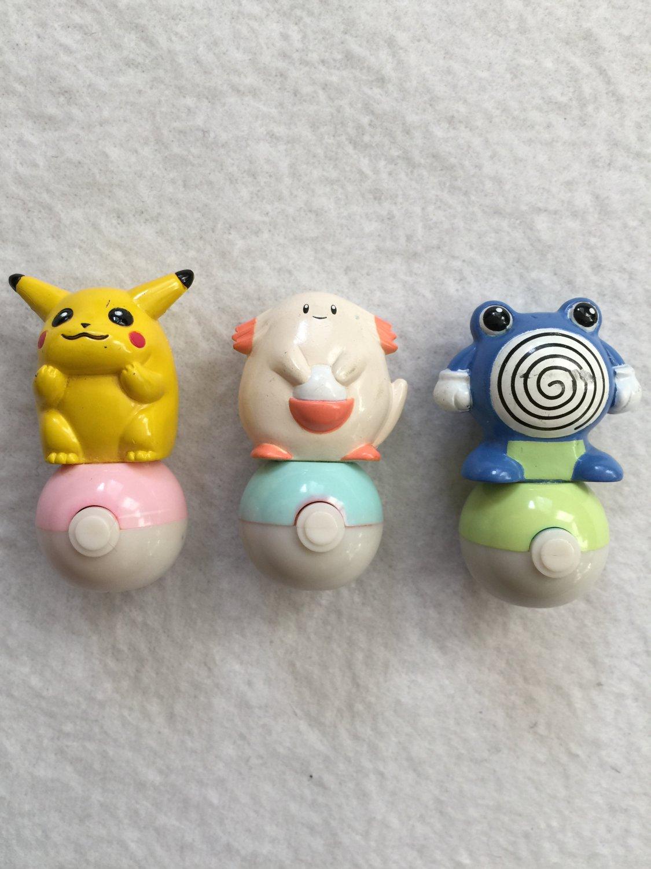 Pokemon Mini Rolling Stamps Pikachu Chansey Poliwrath Set