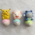 Pokemon Mini Rolling Stamps Pikachu Chansey Poliwrath Set