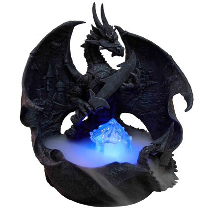 Dark Warrior Dragon Water Mist Fountain Statue