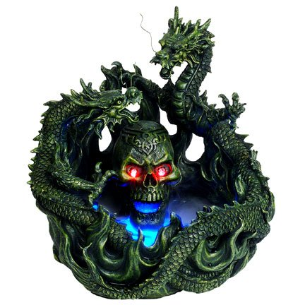 Dual Dragon With Skull Head Water Mist Fountain Led Light