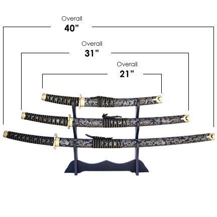 Black Wrap Samurai 3 Sword Set with Stand