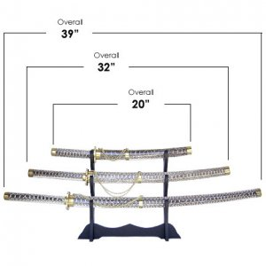 Snake Skin Samurai 3 Sword Set with Stand