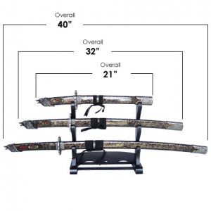 Wolf Head Samurai 3 Sword Set with Stand