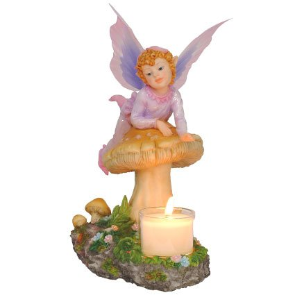 Fairy Laying on Mushroom Candle Holder Statue