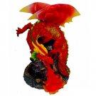 Fire Breathing Red Dragon Fiber Optic Statue