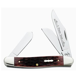 Case Knives Med. Stockman, Mahogany C. Platts' Sons Handle, 3 Blades
